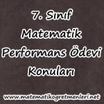 2013-2014 7. Sınıf Matematik Performans Ödevi Konuları