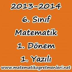 Matematik 6. Sınıf 2013-2014 1. Dönem 1. Sınav