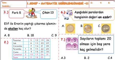 Sene Sonu Değerlendirme Sınavı 1. Sınıf Matematik