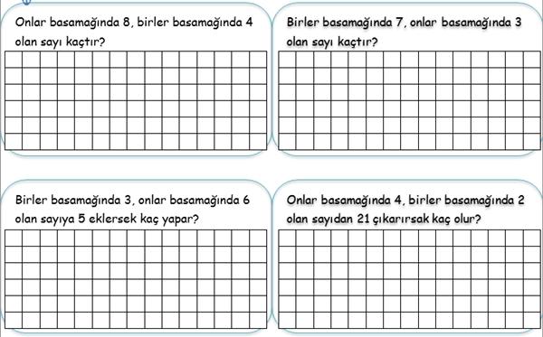 2. sınıf matematik basamak problemleri
