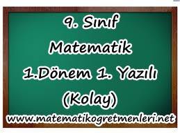 9. Sınıf Matematik Meslek Lisesi 1. Dönem 1. Yazılı (Kolay)