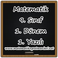 Matematik 9. Sınıf 1. Dönem 1. Yazılı 2014-2015