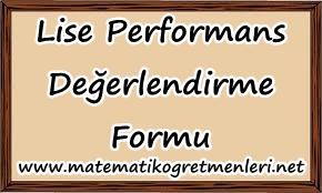 Lise Performans Ödevi Değerlendirme Formu