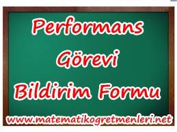 Matematik Performans Görevi Bildirim Formu