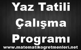 2014 Yaz Tatili Çalışma Programı 4. Sınıf